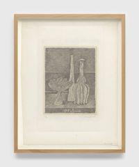 Natura morta con compostiera, bottiglia lunga e bottiglia scannellata (Still life with composter, long bottle and fluted bottle) by Giorgio Morandi contemporary artwork print