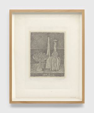 Natura morta con compostiera, bottiglia lunga e bottiglia scannellata (Still life with composter, long bottle and fluted bottle) by Giorgio Morandi contemporary artwork