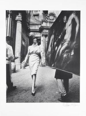 Simone + Painting + Coffee, Rome (Vogue), by William Klein contemporary artwork