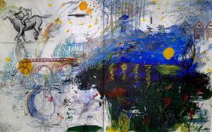 Dessin Nuit étoilée sur la loire by Sohyun Park (삿갓) contemporary artwork painting, works on paper, print, drawing