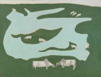 Grazing Brahmins by Milton Avery contemporary artwork painting