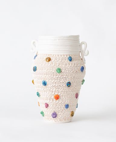 Glenn Barkley,Vase with tokens and extruded top, (2020).Earthenware.31 x 24 cm. Courtesy Jhana Millers