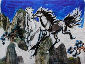 Two Heavenly Steeds by Feng Mengbo contemporary artwork