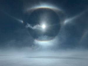 Icesheet #4724, 22˚& 46˚ halo, tangent arc, parry arc, cza and parhelic circle by Murray Fredericks contemporary artwork
