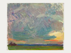 Regents Park Sunset (massed clouds) by Sargy Mann contemporary artwork
