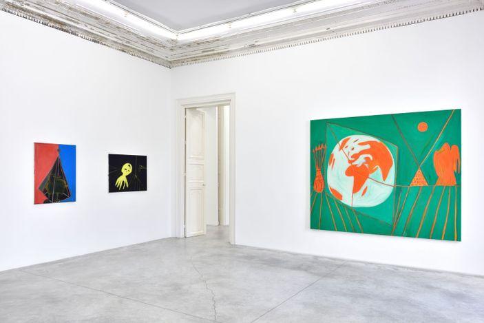 Exhibition view:Marcus Jahmal, New Religion, Almine Rech, Rue de Turenne, Paris (15 April–29 May 2021). © Marcus Jahmal. Courtesy the Artist and Almine Rech.Photo: Rebecca Fanuele.