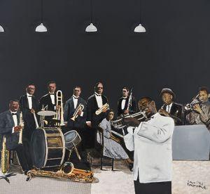 Satchmo and his band by Sam Nhlengethwa contemporary artwork