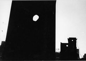 "Untitled (Dark silhouettes of buildings with three round holes, sign with ""RI"") by Louis Draper contemporary artwork"