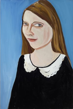 Moll in White Collared Dress by Chantal Joffe contemporary artwork
