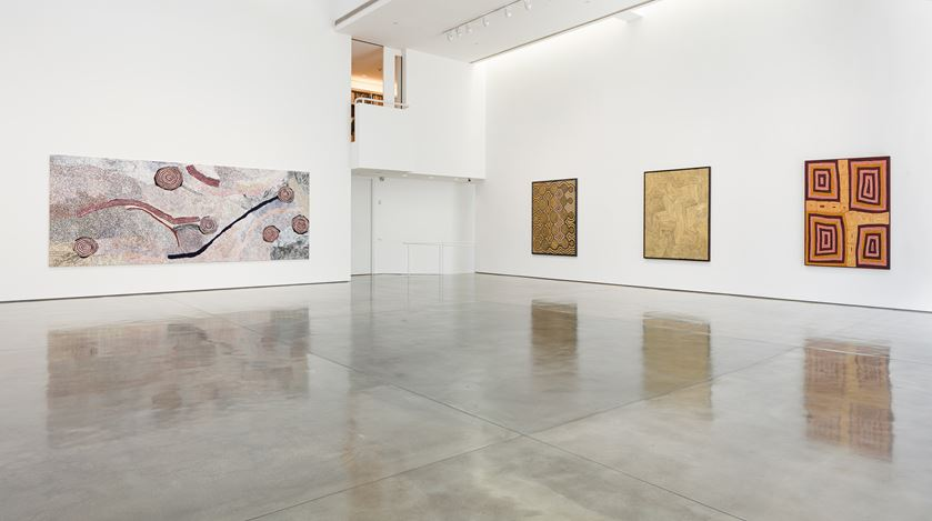 Exhibition view: Group Exhibition,Desert Painters of Australia Part II, Gagosian, Beverly Hills (26 July–6 September 2019).Artwork, left to right: © Bill Whiskey Tjapaltjarri; © Ronnie Tjampitjinpa/Copyright Agency. Licensed by Artists Rights Society (ARS), New York, 2019; © Warlimpirrnga Tjapaltjarri/Copyright Agency. Licensed by Artists Rights Society (ARS), New York, 2019; © Ronnie Tjampitjinpa/Copyright Agency. Licensed by Artists Rights Society (ARS), New York, 2019. Photo: Fredrik Nilsen.