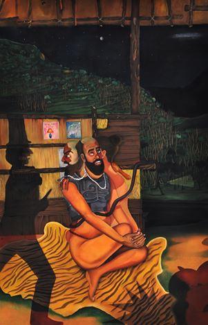 Abul Hisham, This or That (Stalker's Stories)(2015). Soft pastel on paper. 183 x 122 cm. Courtesy Galerie Mirchandani + Steinruecke, Mumbai.