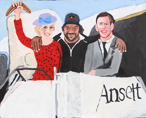 The Royal Tour (Diana, Vincent and Charles) by Vincent Namatjira contemporary artwork