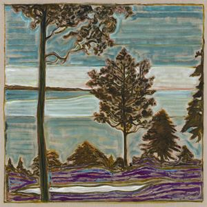 tree overlooking sea by Billy Childish contemporary artwork
