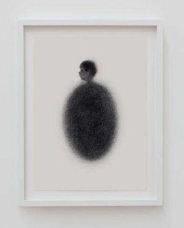 Tarik Kiswanson,Open Window (2020). Charcoal powder on paper. 46 x 35 x 3 cm. © Tarik Kiswanson. Courtesy the Artist and Almine Rech. Photo: Vinciane Lebrun / Carré d'Art, Musée d'art contemporain de Nîmes.