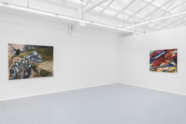 Exhibition view: Jacqueline de Jong, WAR paintings from 1994 to 2014, rodolphe janssen, Brussels (2 May–18 July 2020). Courtesy rodolphe janssen. Courtesy the artist and rodolphe janssen, Brussels. Photo: HV photography.