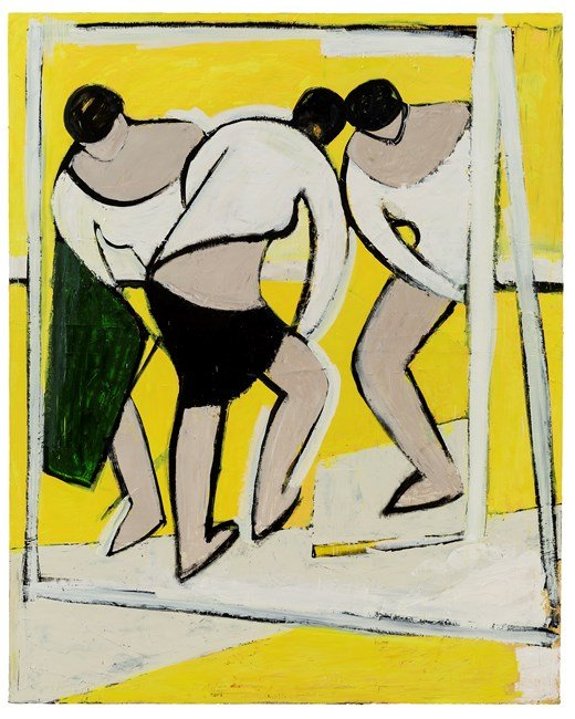 Untitled - Figures in Front of Yellow Background No. 2 by Liu Xiaohui contemporary artwork
