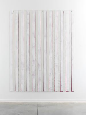 Peinture sur/sous plexiglas sur tissu Superposition: painting covering cloth, 2011 by Daniel Buren contemporary artwork