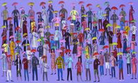 People in the rain by Kitti Narod contemporary artwork painting