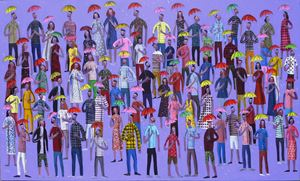 People in the rain by Kitti Narod contemporary artwork