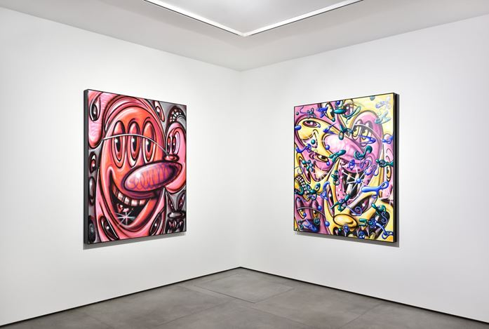 Exhibition view: Kenny Scharf,Vaxi Nation, Almine Rech,Paris, Matignon (21 January–6 March 2021). © Kenny Scharf. Courtesy the Artist and Almine Rech. Photo: Rebecca Fanuele.