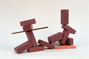 11 brick reclining figure with 1 bar and a Matisse book by Matt Johnson contemporary artwork