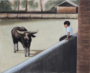 Boy and Buffalo by Matthew Krishanu contemporary artwork
