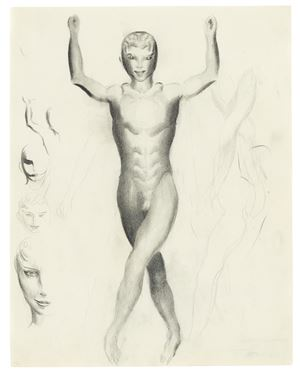 Nude boy and studies of heads by Otto Meyer-Amden contemporary artwork