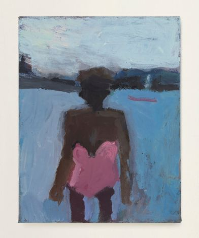 Pink Bathing Suit #8, 2020. Oil on canvas, 14 x 11 in. Courtesy Thomas Erben Gallery.