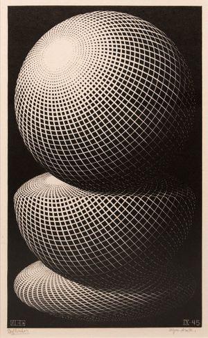 Three Spheres I by M.C. Escher contemporary artwork print