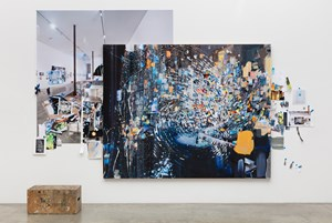 Afterimage, Blue with Fingerprint (Painting in its Archive) by Sarah Sze contemporary artwork