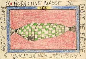"""Boda: Une nasse de digue de pêche, Angélique nom de """"Tapé by Frédéric Bruly Bouabré contemporary artwork"""