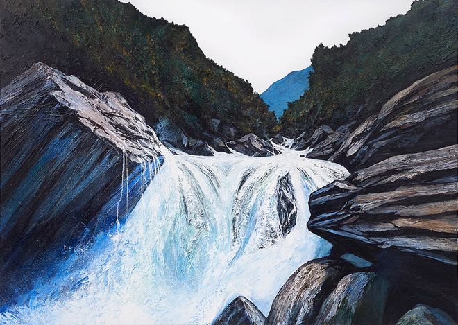 Neil Frazer, Moving Water (2021). Acrylic on canvas, 152 x 213 cm. Courtesy Martin Browne Contemporary.