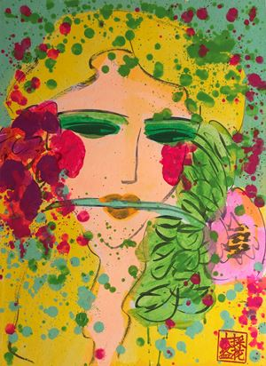 Girl Holding a Flower in her Mouth by Walasse Ting contemporary artwork