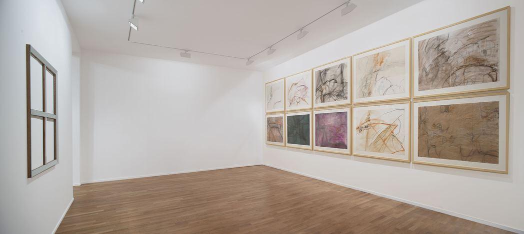 Exhibition view: Daniel Dezeuze, Sous un certain angle, Templon, 30 rue Beaubourg, Paris (12 January–9 March 2019). Courtesy Templon.