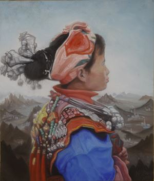 A girl of Miao with landscape background No. 1 by Guo Jian contemporary artwork
