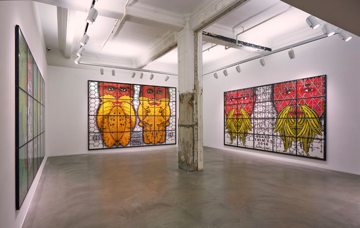 Exhibition view: Gilbert & George, THE BEARD PICTURES, Lehmann Maupin, Hong Kong (10 January–16 March 2019). Courtesy the artist and Lehmann Maupin, New York, Hong Kong, and Seoul. Photo: Kitmin Lee.