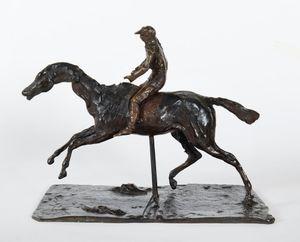 Cheval au galop sur le pied droit, le pied gauche arrière seul touchant terre ; jockey monté à cheval by Edgar Degas contemporary artwork