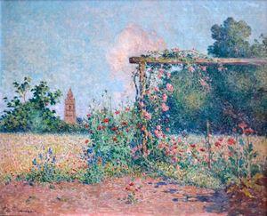 Le jardin fleuri devant l'église de Croisic by Ferdinand du Puigaudeau contemporary artwork