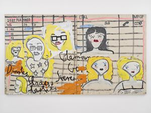 Glamour Girl Stereotype, Shades and Lashes by Rose Wylie contemporary artwork
