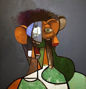 Portrait with Green Shapes by George Condo contemporary artwork