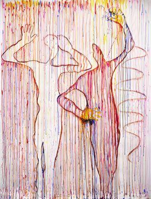Do you hear the drip, drip drip. Crime scene series by Jane McAdam Freud contemporary artwork