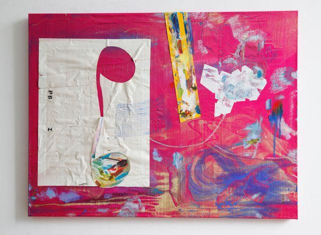 Leonard Bullock, Paul Bloodgoodζ(2020). Mixed media and encaustic on dupioni silk. 110 x 125 cm. Courtesy Thomas Erben Gallery.