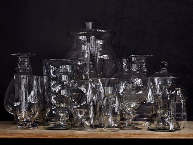Abelardo Morell, Glassware Still Life #1 (2019). Color photograph. 3 sizes available. Courtesy Krakow Witkin Gallery.