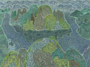 View of Oksoonbong Peak from Dungjibong Peak by Min Joung-Ki contemporary artwork