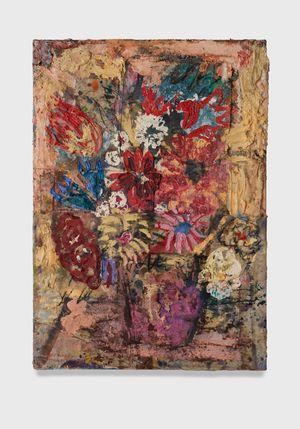 Flowers 17 (burnt yellow with fuchsia vase) by Daniel Crews-Chubb contemporary artwork