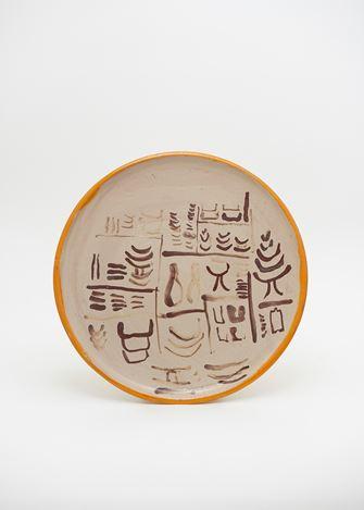 Matthew Lutz-Kinoy & Natsuko Uchino, Keramikos 3, (2018). Glazed ceramic, ⌀28cm. © Matthew Lutz-Kinoy & Natsuko Uchino. Courtesy Taka Ishii Gallery.