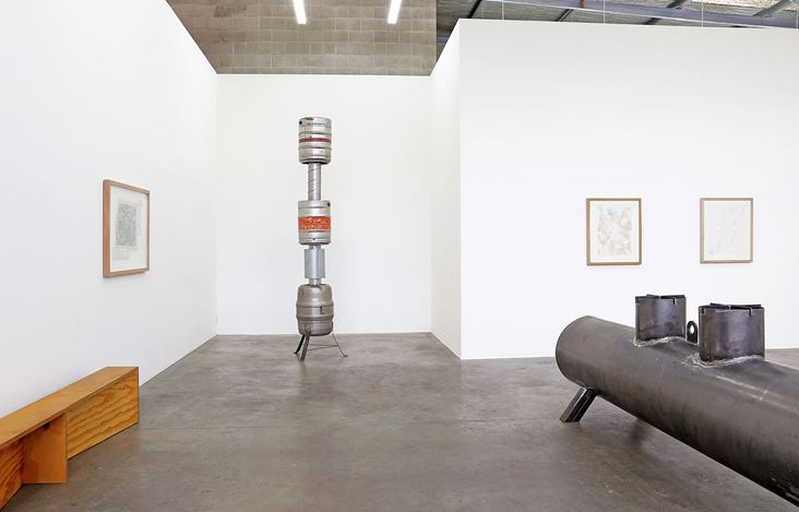 Exhibition view: Robert Hood,future sectional carbonised stomach compulsion earth pathology, Jonathan Smart Gallery, Christchurch (30 July–24 August 2019). Courtesy Jonathan Smart Gallery.