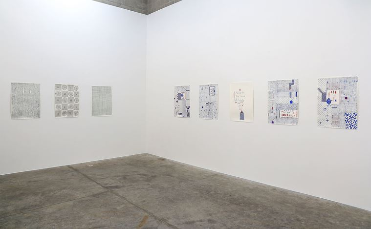Exhibition view: John Pule, A time like no other,Jonathan Smart Gallery, Christchurch (21 April–23 May 2020). Courtesy Jonathan Smart Gallery.