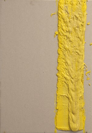 4in (Section) (W), 2.27mm (T), Yellow, Random Mark, Hand Marking, Lewis St, Btw Delancey St - Grand St by Vikram Divecha contemporary artwork