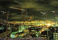 'TV Aerials and Aircraft Light Trail', Hong Kong by Greg Girard contemporary artwork photography, print